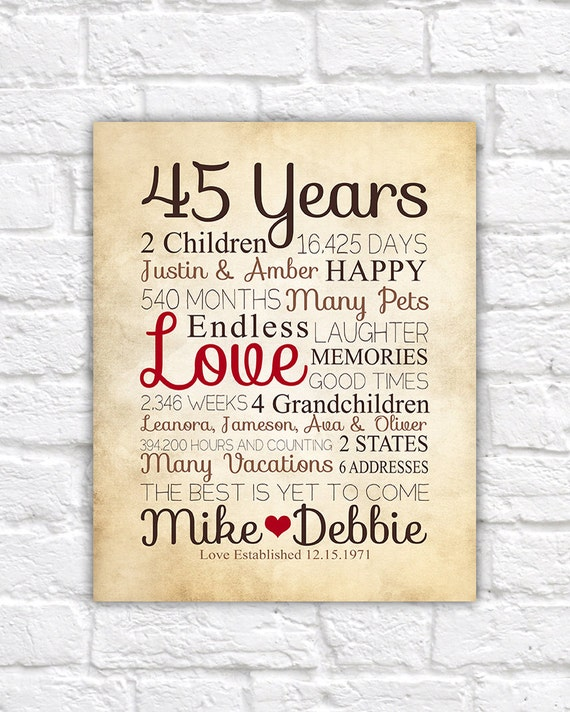 Anniversary Gift For Parents 45 Year on Best Anniversary Ts Parents