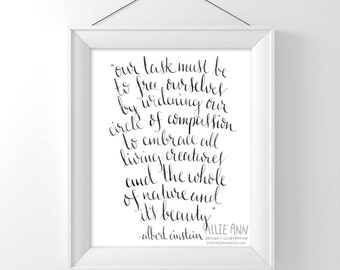 Albert Einstein, Widening Our Circle Of Compassion To Embrace All  Living Creatures quote, calligraphy