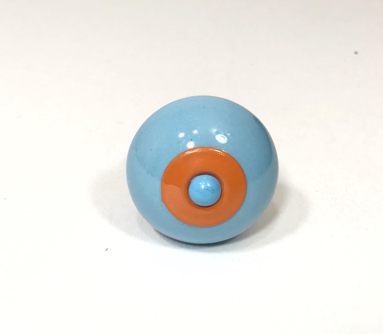 Blue and Orange Ceramic Knob, Drawer Pull, Kitchen Cabinet Hardware ...