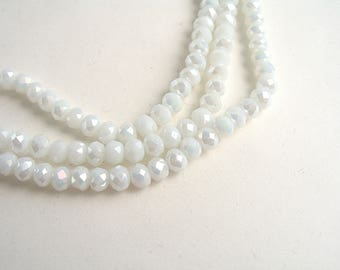 120 4x3mm pearly white faceted glass beads