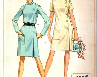 "Vintage 1968 Simplicity 7850 Mod Jiffy Dress Sewing Pattern Size 10 Bust 32 1/2"""