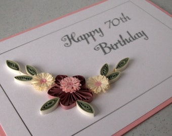 Happy birthday card handmade quilling card quilled quilled 70th birthday card handmade quilling design can be for any age bookmarktalkfo Choice Image
