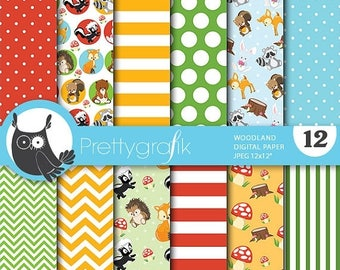 80% OFF SALE Woodland animals digital paper, commercial use, scrapbook papers, background chevron, gingham, stripes - PS695
