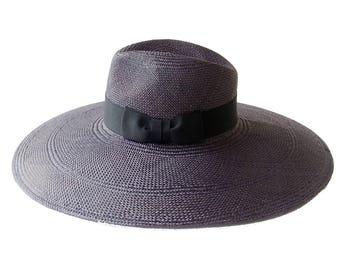 Wide Brim Panama Fedora Hat Women's Sun Hat Straw Hat Wide Brimmed Straw Hat Panama Hat Black Panama Hat Beach Hat Kentucky Derby Hat