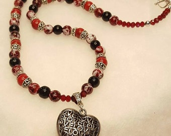Red and Black Silver Heart necklace