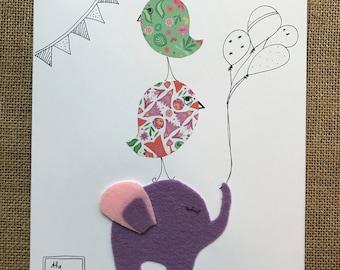 Elephant and birds personalized baby birth frame nursery art