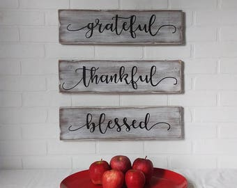 thankful, grateful, blessed, autumn, thanksgiving, fall decor, autumn decor, wall decor, wall sign, farmhouse decor, farmhouse sign, rustic
