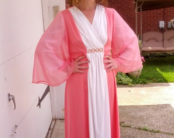 Vintage 60s Dramatic Pink and White Godess Chiffon Angel Sleeves Ladies Evening Gown Size Medium Small