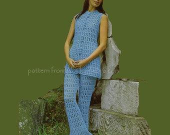 Crochet Trouser Suit Vintage Pattern PDF 393 from WonkyZebra