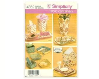 Simplicity 4362 Home Decorating Fabulous Fabric Containers Storage Tissue Holder Serving Trays Vase Junk Drawer Organizer UNCUT