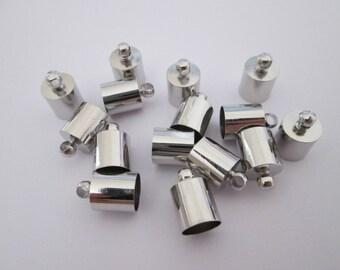 10 embouts cloche en métal argenté 10 x 6 mm trou 5.3 mm