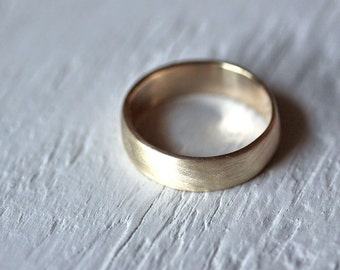 Men's Wedding Band, 7mm Wide Low Dome 10k Recycled Hand Carved Yellow Gold  Wedding Ring