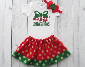 My First Christmas Outfit for Baby Girl - first christmas shirt, holidays, red and green, holiday outfit, baby girl christmas dress,