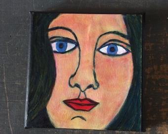 Acrylic painting - portrait - acrylic paint on  paper