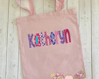 Girls pink tote bag - personalized tote bag -tote bag with name- pink, purple, blue - canvas tote bag with embroidered name- girls beach bag