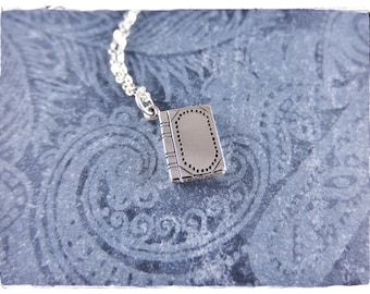 Silver Book Necklace - Sterling Silver Book Charm on a Delicate Sterling Silver Cable Chain or Charm Only