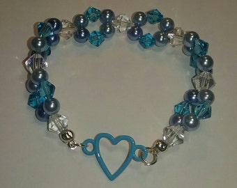 Double Strand Crystal Beaded Heart Bracelet