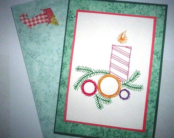 Stitched candle and baubles Christmas card with matching envelope.