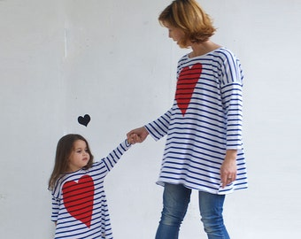 Blue and white stripes loose shirt with heart print , oversized tunic, striped tunic, women's clothing