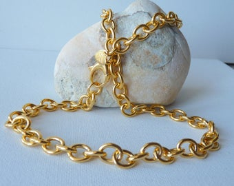Vintage Gold Tone Chain Necklace, Signed BRONZO ITALY, Thick Gold Link Chain, Modern Gold Necklace, Gold Chain Jewelry, Simple Retro Item