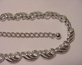 Vintage Silver Tone  Metal Adjustable Necklace  12  - 62