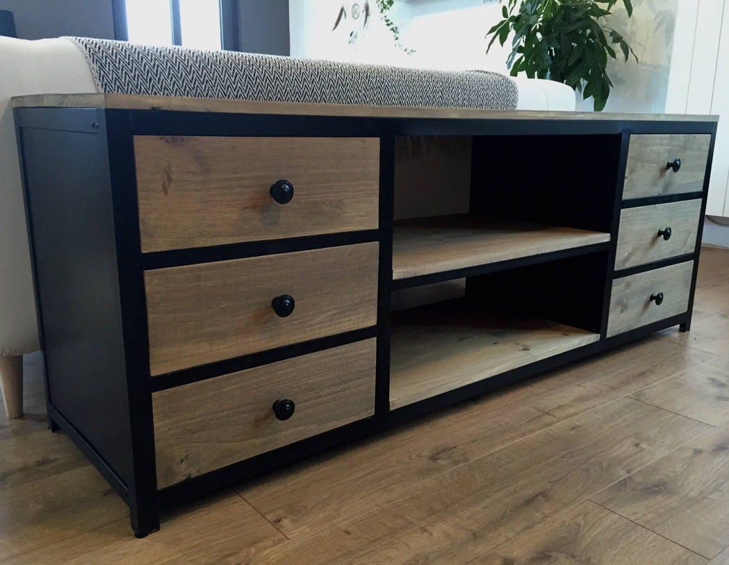 meuble tv acier noir et bois 6 tiroirs. Black Bedroom Furniture Sets. Home Design Ideas