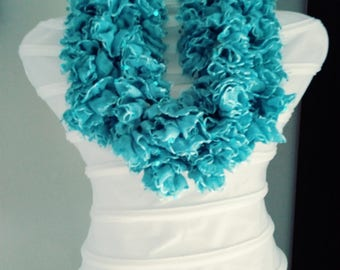 Crochet turquoise color  handmade Scarf, with teeter Free Shipping