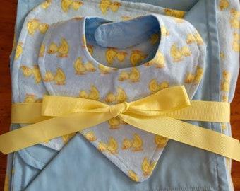 Adorable Handmade Blanket/Burp Cloth/Bib Set- Blue