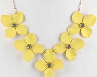 Assorted Colors - Epoxy Coated Metal Flower Bib Necklace