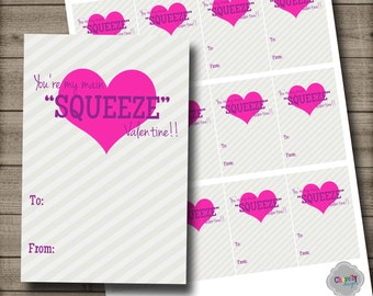 DIY...You're my main SQUEEZE Valentine - Printable - Val001