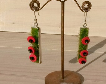 """Earrings collection """"field of poppies"""", rectangle shape"""