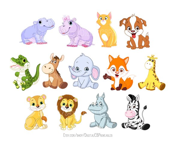 cute animal clipart kids clipart cute clipart safari animal rh etsy com cute animal clip art printables cute animal clip art printables