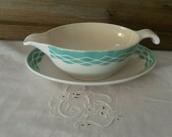 Vintage earthenware sauce boat / French Digoin Sarreguemines