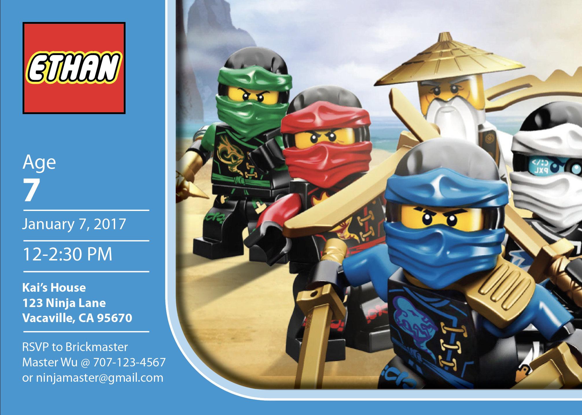 Lego Ninjago Personalized Birthday Invitation PRINTABLE