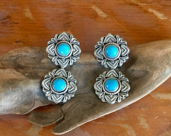 E308D Double Rose Window Turquoise Earrings in Sterling Silver