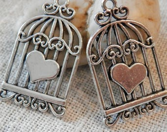 Bird Cage Pendant Silver Pendant Antique Silver Jewelry Making DIY Supplies Beading Supplies