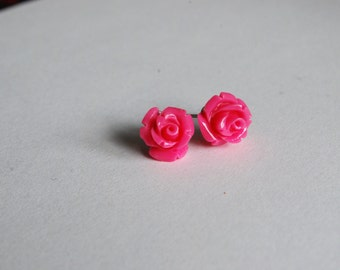 Hot Pink Rose Earrings -- Rose Studs, Flower Studs, Flower Earrings, Pink Flower Earrings