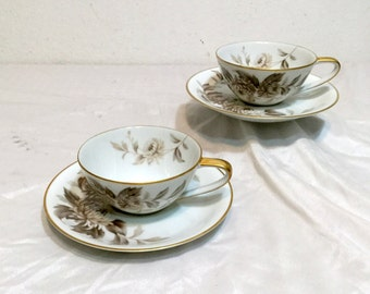 Noritake LASALLE 2 Cup and Saucer Sets Vintage 60'S Fine China Japan