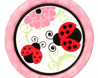 Ladybug Party Paper Plates/ Small Dessert Plates/ Ladybug Birthday, Baby Shower, 1st Birthday/ Ladybugs and Flowers/ Ladybirds/ 8 Count - 7""