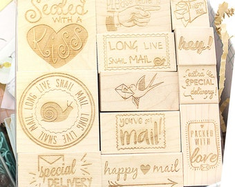 Happy Mail Engraved Wood Rubber Stamp Set, Happy Mail Stamps, Happy Mail Stamp Set, Snail Mail Stamps, 12-pc. Stamp Set in 5x5 Acetate Box