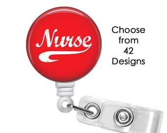 Nurse Badge Reel, ID Badge Holder clip, Medical Badge Reel, Cardiac Nurse Badge Reel,  Scrubs Badge Reel, RN Badge reel, ER Badge Reel