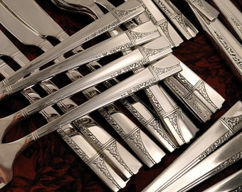 Nobility Plate CAPRICE Art Deco Silverware Set French Grille Viande Dinner Service for 6 Vintage 1937 Silver Plate Oneida Flatware