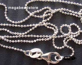5 pcs 16 inch 925 Sterling Silver 1mm Diamond Cut Ball Chain Necklace FC2