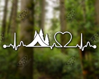 DECAL [Heartbeat Camping] - Vinyl Decal, Bumper Sticker, Car Window Decal, Car Decal, Laptop Decal, Adventure Decal, Water Bottle Decal