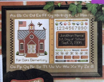 First Day Of School Sampler Cross Stitch - Alphabet Sampler Pattern - School Cross Stitch
