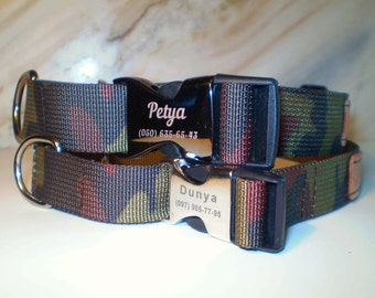 Personalized Nylon Martingale Dog collar, Metal buckle Lazer Engraved,Martingale dog collar,Camouflage colors