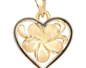 Hawaiian Heirloom Jewelry 14k Gold Plumeria Black Enamel Heart Pendant from Maui, Hawaii