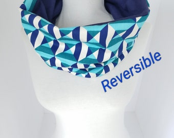 Infinity Scarf in Geometric & Navy Blue Scarf Neck Warmer Reversible Cowl Neck Scarves Colorful Snood Gift for Him Gift for Her