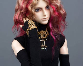 """READY to SHIP! Gorgeous blond angora goat wig with highlights in j-rock style for SD, supergem or other doll with 8-9"""" head"""