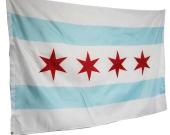 Flag of Chicago Official - 3ft x 5ft / 90cm x 150cm - 2 Copper Grommets